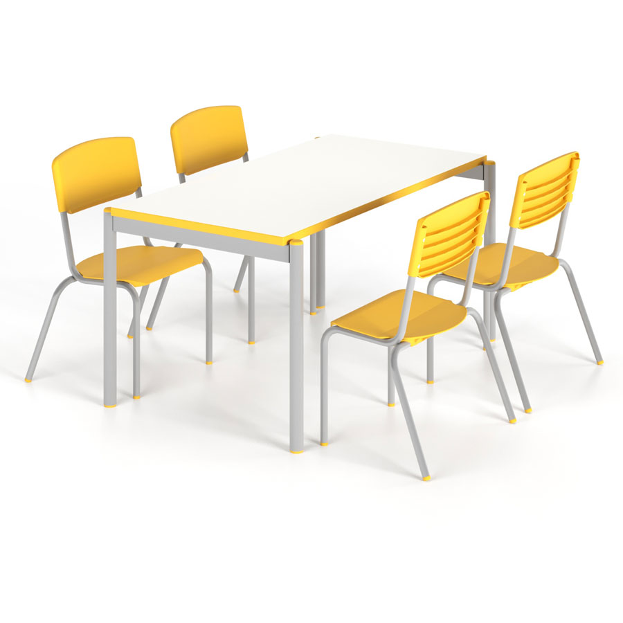 mesa com cadeiras amarelas