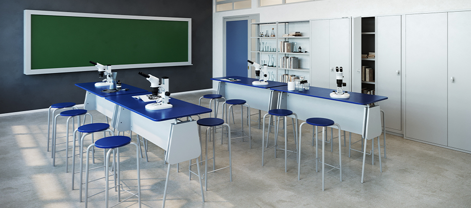 móveis de laboratório com banquetas